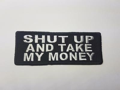 SHUT UP AND TAKE MY MONEY Biker Patch Embroidered Sew Iron on Fry Futurama (Fry Shut Up And Take My Money)