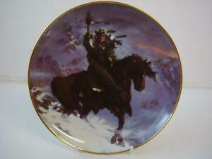 FRANKLIN MINT WESTERN HERITAGE AMERICAN INDIAN SPIRIT OF THE WEST WIND PLATE