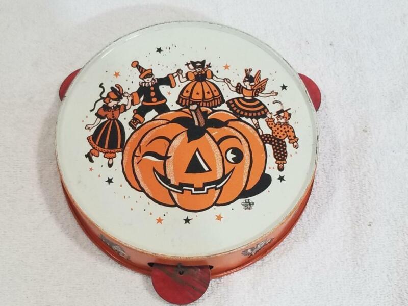 "Vintage 6.25"" Tin Litho Halloween Pumpkin Noise Maker Tambourine  US Toy Maker"