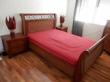 SEVEN PIECE BEDROOM SUITE, WITH SLEIGH STYLE BED. Mango Hill Pine Rivers Area Preview