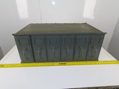 Vintage Industrial Factory Metal 6 Drawer Stacking File Cabinet 30x18x11