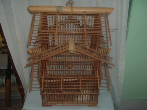 Old Bamboo Bird Cage,Plenty of Pics,Pet supplies,Bird Cage,Attic Find.