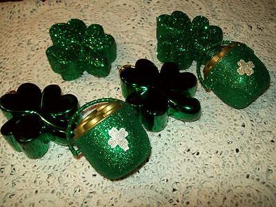 NEW SET OF 6 GREEN ORNAMENTS SHINY GLITTER SHAMROCK POT OF GOLD ST PATRICKS DAY](St Patricks Day Ornaments)