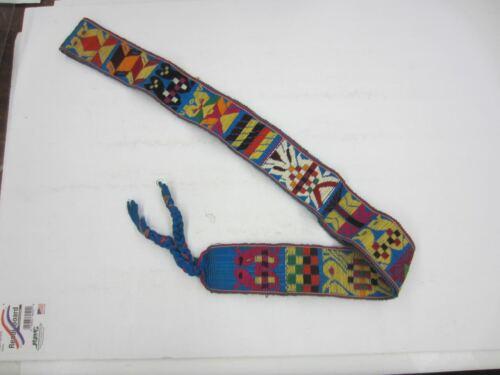 "Vintage 1975 Guatemalan HAND WOVEN Belt Sash 68"" Long People & Animals"