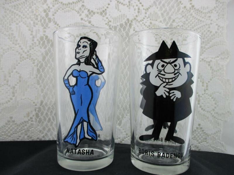 Vintage Boris Badenov & Natasha Drinking Collector Glasses~Pepsi