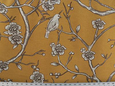 Cortinas Tela para Tapizar Algodón Gata Árboles Pájaros Cerezas Diseño - Citrino