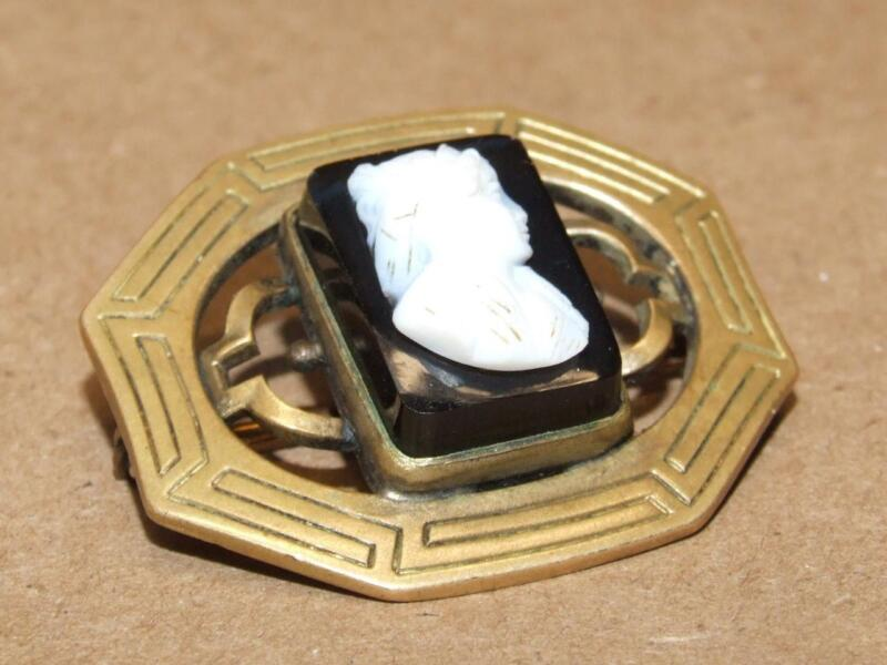 Vintage Antique Hand Carved Shell Cameo On Black Onyx Pin Brooch