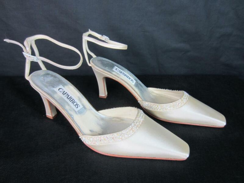 *Jeweled White Satin Wedding, Prom Shoes, Caparros Heels - Ankle Strap New Sz 9B