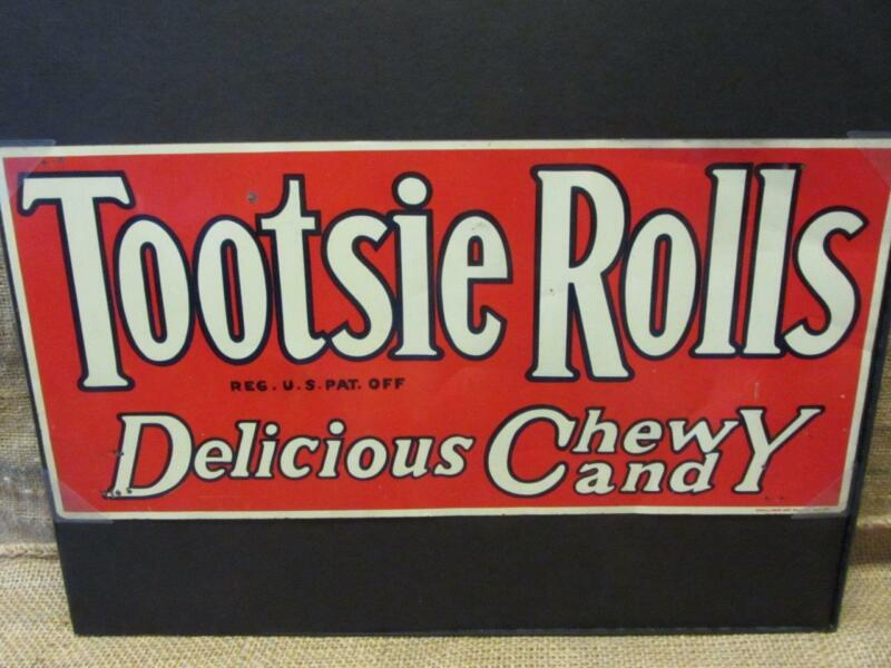 Vintage Tootsie Roll Candy Bar Sign Donaldson Sign Co > Antique Candies 9959