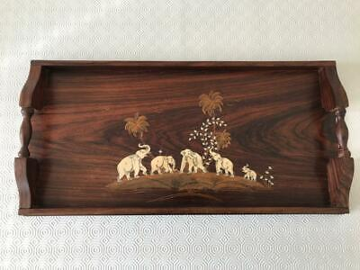An antique walnut tray with carved inlay, 50 x 25.5 x 5.5 cm