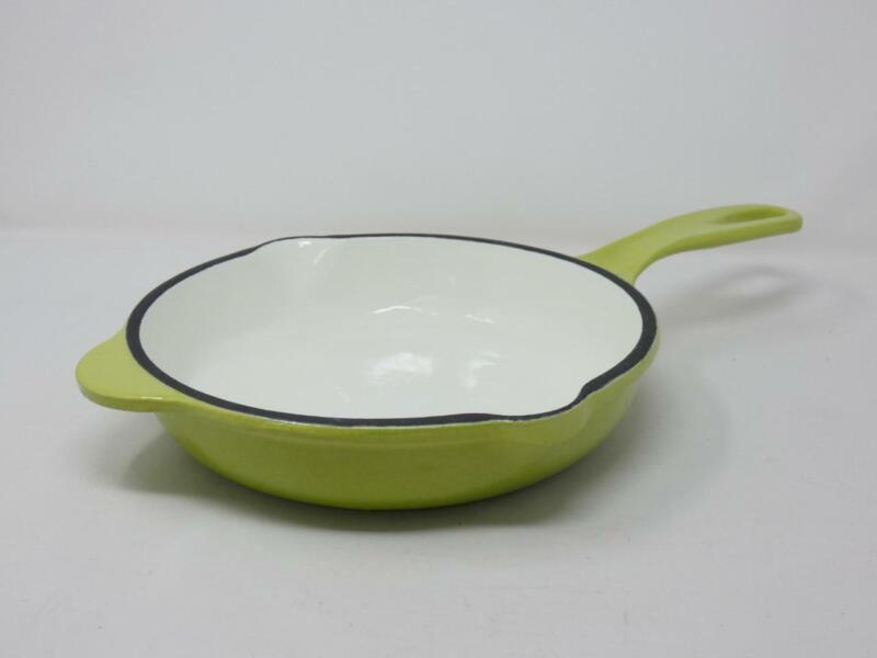 Outset Enameled Cast Iron 9 Inch Skillet Fry Pan Green Heavy Duty & Very Clean