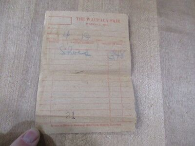 1920's Bill for Shoes the Waupaca Fair Wisconsin >