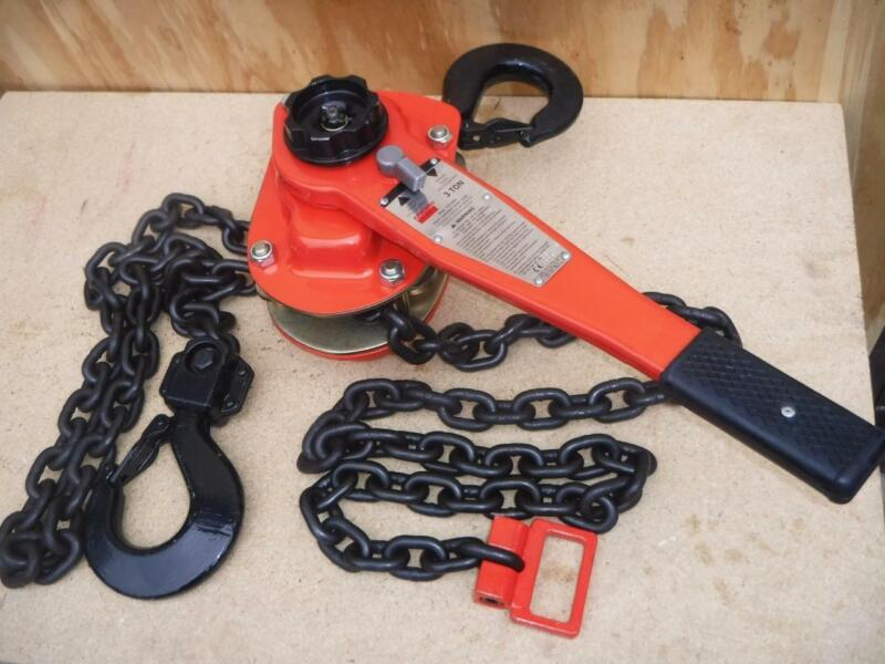 NEW 4ZX49 Dayton Hand Lever Chain Hoist 3 Ton Lift 10 ft Fast Ship Rated 77lbs