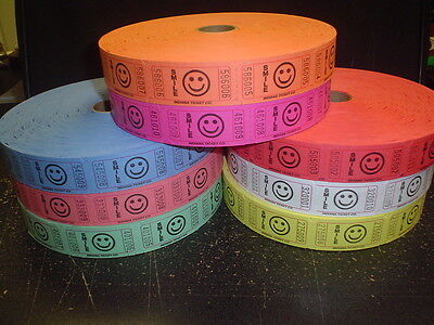 Roll of 2000 Tickets Smiley Face Smile 8 Colors Raffle Fun Fair Carnival New - Carnival Ticket
