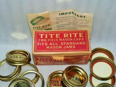 Very Rare NOS ©1923 Box of 12 Tite Rite 2 Piece Mason Caps Jars Standard Size - Gold Mason Jars