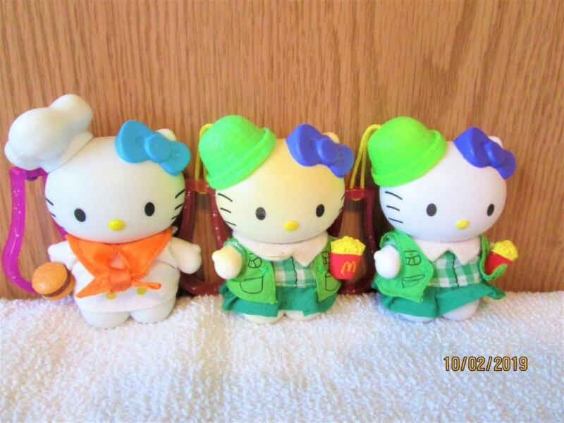 3 VINTAGE HELLO KITTY EATING AT MC DONALDS KEY CHAINS