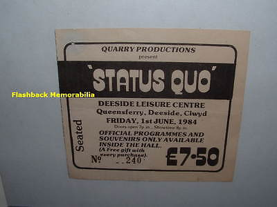 STATUS QUO Concert Ticket Stub 1984 DEESIDE CENTRE QUEENSFERRY U.K. Very Rare