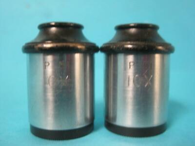 Lot Of 2 P 51 Periplan 10x Microscope Eyepieces Vintage Pair Eye Pieces Rare