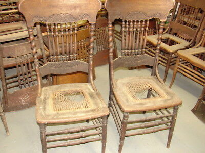 (#57 - 2 Antique Pressed Back Chairs w/ Rope Twist Side Posts - For Restoration)