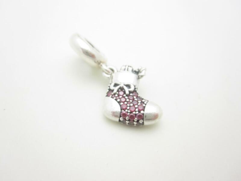 Pandora Sterling Silver Red Sparkling CZ Stocking Christmas Dangle Holiday Charm