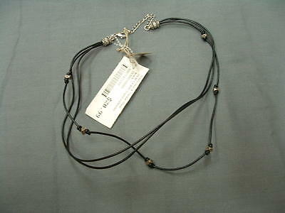 Triple Strand Leather - Big Sky Silver Black Leather Triple Strand Necklace #DEMB5100060