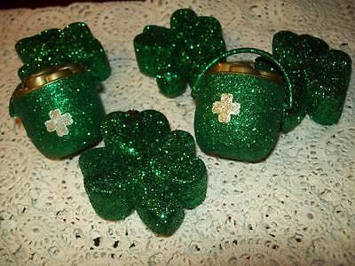 NEW SET OF 6 GREEN GLITTER ORNAMENTS SHAMROCK CLOVER POT OF GOLD ST PATRICKS DAY](St Patricks Day Ornaments)