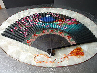 "Japanese Fan Silk  Mt. Fuji 16"" Black Vintage Japan"