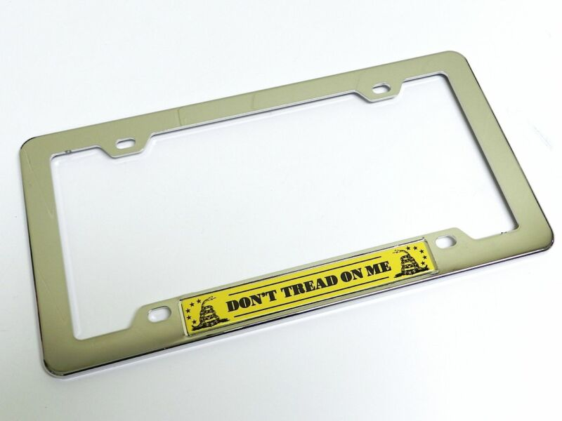 DON'T TREAD ON ME EMBLEM LICENSE PLATE TAG FRAME CHROME YELLOW GADSDEN FLAG DONT