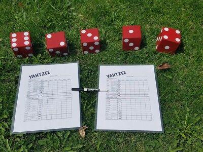 5 Red, White dot Wood Yard Yahtzee Lawn Dice Game Reusable card & Marker Yardzee