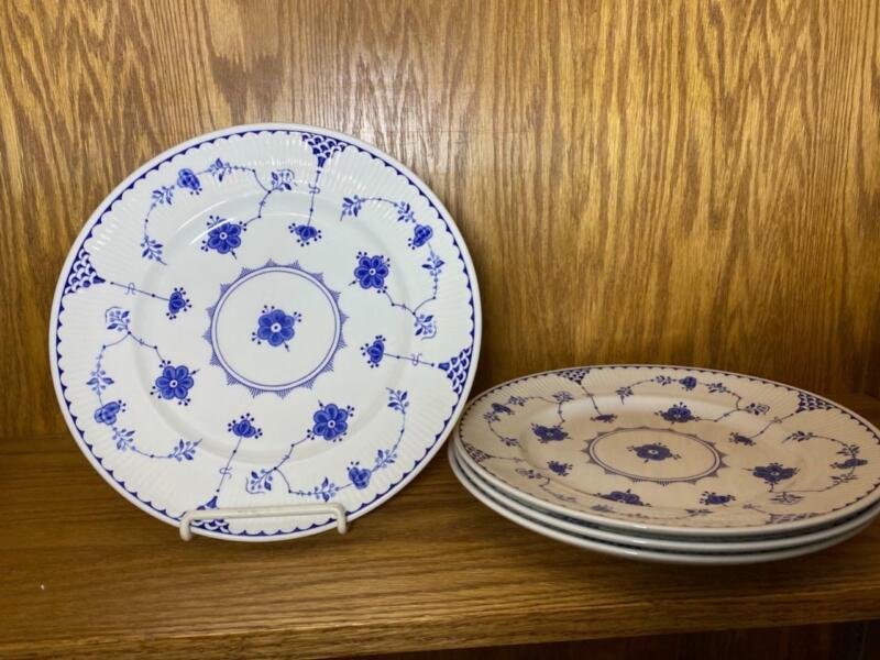 "4 Johnson Brothers Blue Denmark 10"" Dinner Plates NWT"