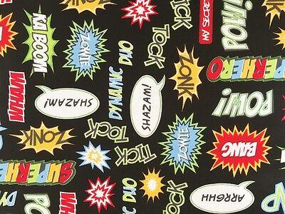 Superhero Pow Wham fabric, cartoon black Robert Kaufman, Bang Shazam - Superhero Pow