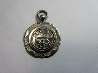 VINTAGE SOLID SILVER 'TABLE TENNIS' POCKET WATCH CHAIN FOB - Fattorini c1936!
