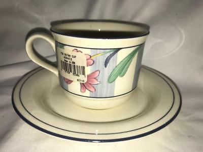 Lenox Poppies on Blue Cup & Saucer New First Quality Made in USA