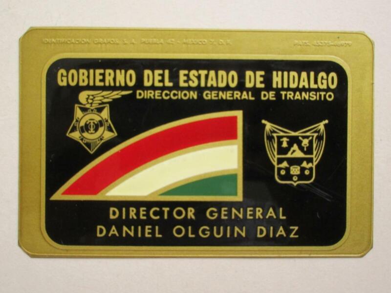OBSOLETE 1960s HIDALGO MEXICO TRAFFIC DIRECTOR MEXICAN POLICE BADGE POLICIA