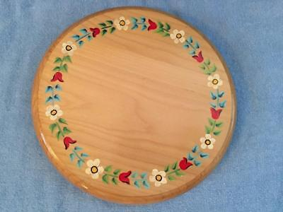 Beautiful Round Wood Trivet Made in Sweden and Hand Painted 3 Ball Feet