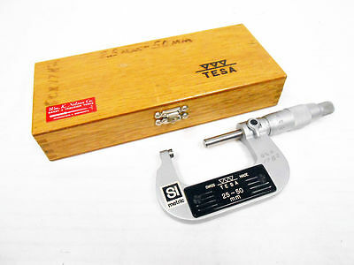 Tesa Group 25-50 Mm Outside Micrometer With Case Locking Swiss Made .01mm