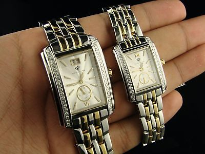 Womens And Mens Aqua Master 2 Tone Diamond Watch Set