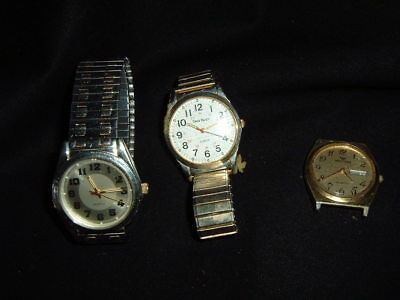 Men's Quartz Watches Japan Singapore MOVT Waltham Hong Cong Repair/Parts Lot of3 for sale  Shipping to India