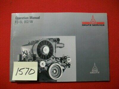 Deutz Service F3-6l 912w Air-cooled Diesel Operation Manual 0297 5640 En