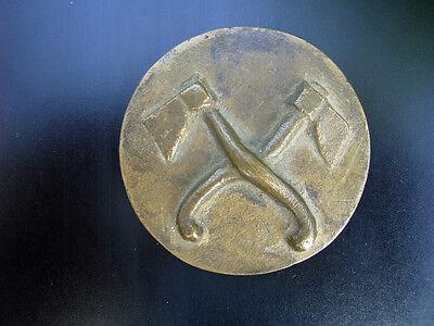 Medaille (Plakette) mit 2 Äxten - Bronze (Messing) - Handwerk