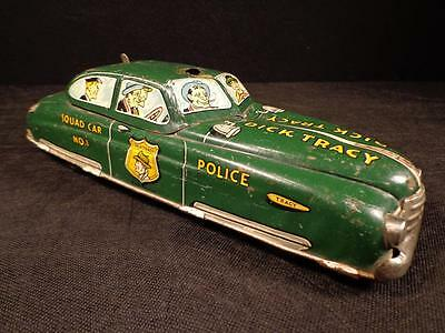 Vintage 1949 DICK TRACY POLICE SQUAD CAR NO.1 WIND UP TIN TOY MARX GREAT COLOR