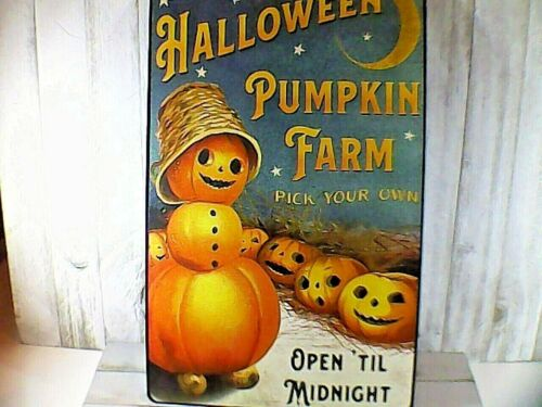 VINTAGE STYLE HALLOWEEN TIN METAL SIGN RETRO PUMPKIN FARM PICK YOUR OWN