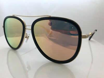 Authentic Gucci GG0062S 001 57mm Urban Collection Black/Gold Aviator Sunglasses