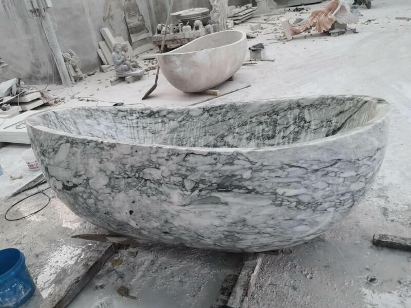 INCREDIBLE HAND CARVED MARBLE MODERN ESTATE BATH TUB - WFT56