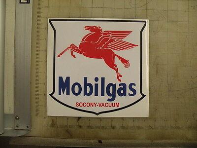 "Vintage Mobilgas Socony gasoline sticker 9""x8.7"""