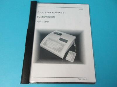 Surgipath Medical Vsp-2001 Vogal Cassette Slide Printer Vcp2001 Operators Manual