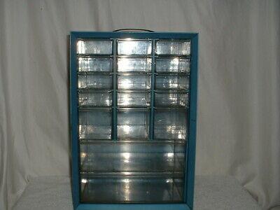 Vintage Akro-mils 17 Drawer Metal Hardware Storage Cabinet Organizer