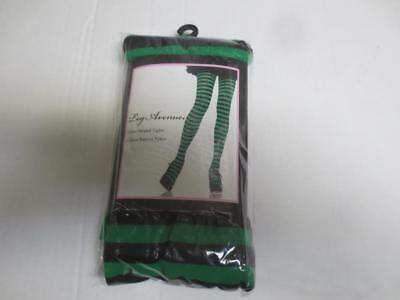 NIP New Leg Avenue Nylon Striped Tights Green & Black #7100 size 90-160lbs - Green Black Striped Tights