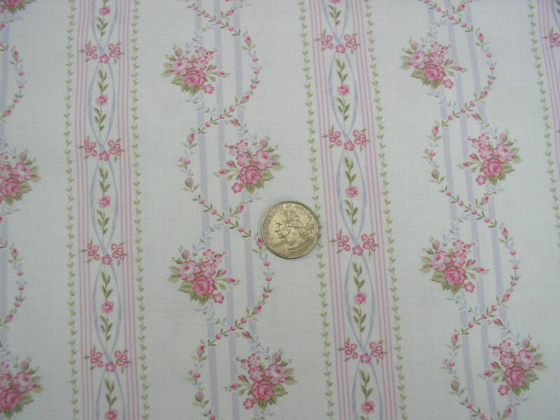 A Beautiful Time Shabby Pink Trailing Chic Roses White Wallpaper Stripe Fabric