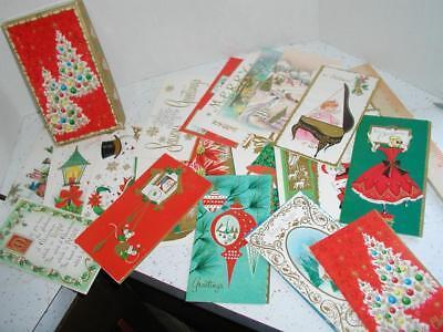 21 Vintage Kromkote Christmas Cards Unused in Box Angels Animals Santa Snowman